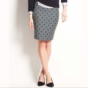 Ann Taylor Diamond Print Jacquard Pencil Skirt